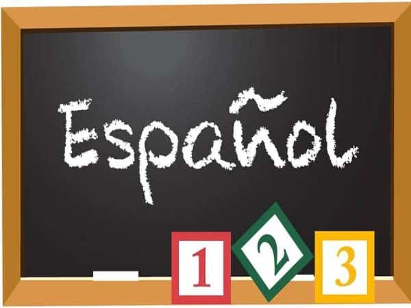 pizarra con la palabra español